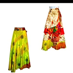 Vintage Model france silk wrap dress/skirt